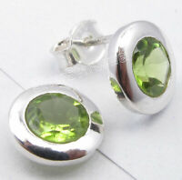 "Green Round Peridot Studs Earrings 0.4"" Sterling Silver Fashion Jewelry"
