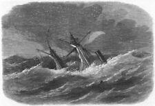 ST GEORGE'S CHANNEL. Shipwreck Armenian, Arklow bank, antique print, 1865