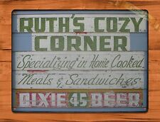 "TIN-UPS TIN Sign ""Ruth's Cozy Corner"" Vintage Restaurant Beer Store New Orleans"