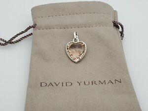 David Yurman Cable Heart Pendant Enhancer with Morganite, 16mm