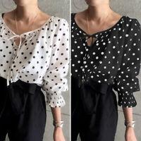 Mode Femme Simple Manche Longue à pois Casual lâche Mince Chemise Shirt Plus