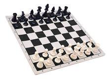 "Analysis Chess Set - 12"" Black Vinyl Chess Board – 32 Black & Natural Pieces"