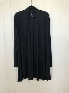 Wyse Lifestyle Black Kiera Cardi Long Sleeve Modal Stretch Cardigan Size L