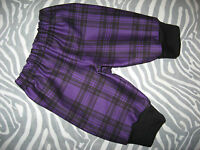 NEW Punk Baby Boys Girls Black Purple tartan check Drill  Leggings Trousers Rock
