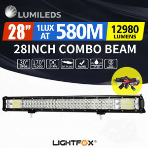 28 inch LED Light Bar Tri Row Flood Spot Combo Offroad Driving 4WD
