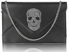 CLUTCH hand BAG WEDDING EVENING black skull flap over gothic 228
