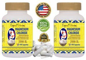 Cloruro de Magnesio Magnesium Chloride 2000 ultra 280 capsules high absorption