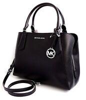 Michael Kors tasche handtasche kimberly lg satchel glattleder black silver  neu