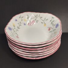 """Set of 7 JOHNSON BROTHERS SUMMER CHINTZ 6"""" Square Cereal Bowls *ENGLAND*"""