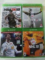Xbox One Games Lot 4 Sport Games: NBA2K19, Madden 19, FIFA18, NHL 19