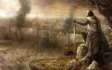 Encadrée Imprimer-Medieval Knights Templar donnant sur le champ de bataille (photo)