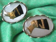 Vintage 70's Egyptian style  clip on Queen Nefertiti  earrings -810