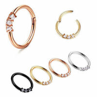 3 Colors Septum Clicker Nose Rings Hinged Segment Ring Crystal Gem Body Jewelry