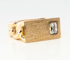 Gold Band Geometric Vintage Diamond Ring Solitaire 14K
