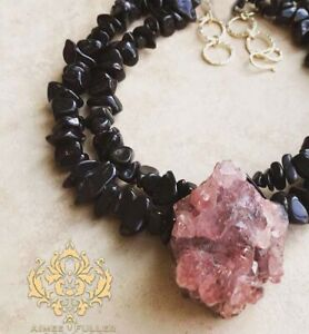 Amethyst Drusy Large Geode Crystal Pendant Chunky Statement Necklace Black Stone