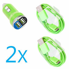 2A Dual Car Charger+2 Micro USB Cable for Samsung Galaxy S5 S4 S3 Note 2 OEM
