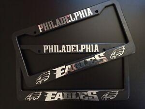 - SET of 2 - Philadelphia Eagles Black Plastic License Plate Frame Truck Car Van