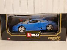 Bburago 1991 Bugatti EB 110 1:18 Scale Diecast Model Car Burago Blue 3035