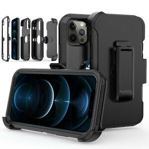 For iPhone 12 Pro 13 12 Pro Max Heavy Duty Shockproof Phone Case Cover+Belt Clip
