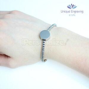 Personalised Photo / Text Engraved 'Alessa' Round Charm Bracelet FREE UK Postage