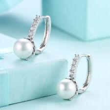 White Pearl Freshwater Cz 925 Sterling Silver Drop Dangle Earrings 01078 Wedding