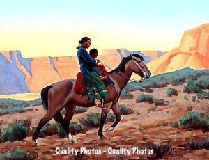 "Navajo Mother with Child on Horse 8.5x11"" Photo Print Maynard Dixon Western Art"