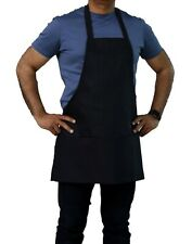 "25"" x 30"" Black Color Professional Bib Apron with Pockets"