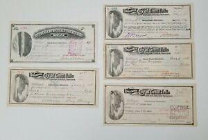 Lot of 5 Bank Checks Treasurer City of Great Falls Montana Note 1901-1915