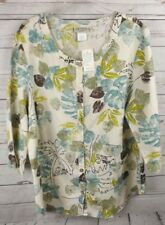 New Orchadia Linen Blend Shirt 1X Green Multi Floral 3/4 Sleeve