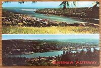 MICHIGAN KEWEENAW WATERWAY SPLIT PICTURE LOG PORT OF CALL POSTCARD 783