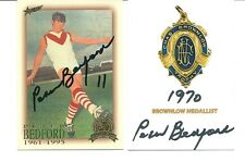 HALL OF FAME / BROWNLOW  MEDAL CARDS SIGNED BY PETER BEDFORD