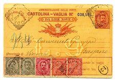 1893 REGNO 5 VALORI SU CARTOLINA VAGLIA 15 CENTESIMI VIAGGIATA C/4652