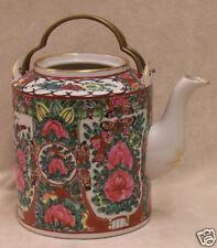 VINTAGE ROSE MEDALLION TEA POT JAPANESE PORCELAIN WARE FLORAL BIRD  BUTTERFLIES