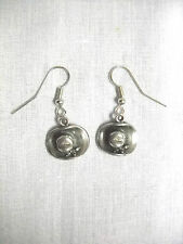 NEW 3D COWBOY HAT COUNTRY WESTERN COWGIRL HAT PEWTER CHARMS DANGLING EARRINGS