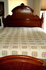 "VINTAGE Mormon Crafted~HAND CROCHET Flower Patch (169) Bedspread~84"" x 76"" used"
