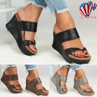 Women Platform Wedge High Heels Sandals Ladies Summer Flip Flops Shoes Size5-8.5