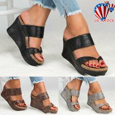407a1e9394f1 Women Platform Wedge High Heels Sandals Ladies Summer Flip Flops Shoes  Size5-8.5