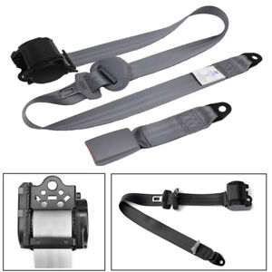 High Quality Gray Retractable 3 Point Car Safety Seat Belt Lap&Diagonal Belt Kit