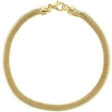 """18k Gold Plated Classic Thick Flat Snake Mesh Chain Womens Bracelet 7"""""""