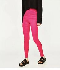 177c4a8f Zara Hot Pink Ruched Gathered Leggings Pants NWT Workout Gym Fashion Size M