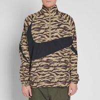 Nike AOP Swoosh Tiger Stripe Camo Khaki 1/2 Zip Woven Jacket  Men's Size XL