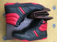 New Gucci Mens Shoes Black Ronnie Sneaker High Tops UK 10.5 US 11 44.5 Web Green