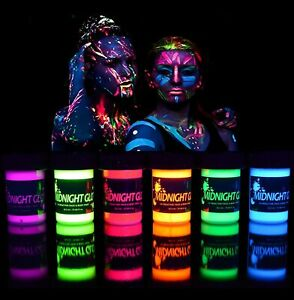Neon Glow In The Dark Face And Body Paint Party 6pcs UV Reactive Made In The USA