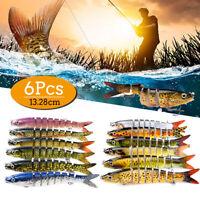 6PCS Fishing Lure 8 Segments Hard Bait Artificial Fish Bait Fishing Tackle Hook