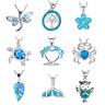 1 Pc Fashion Sea Theme Sea Turtle Silver Blue Fire Opal Necklace Unique Jewelry