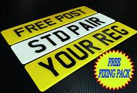 NUMBER PLATES 1 PAIR SAME REG REGISTRATION PLATES PLAIN NO GB  FREE POST