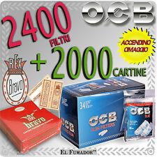 2000 Cartine BRAVO REX FINISSIME CORTE + 2400 FILTRI OCB SLIM 6mm 20 BUSTINE