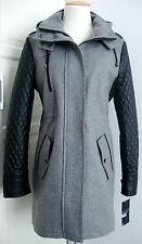 William Rast abrigo chaqueta Parka señora lana capucha gris talla L nuevo con etiqueta