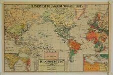 """Affiche PLANISPHERE DE LA GUERRE MONDIALE 1943 """"EDE"""" Projection Mercator"""