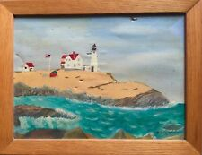 Mid-Century Folk Art Lighthouse Seascape by Wm. Randall Oil Painting on Paper